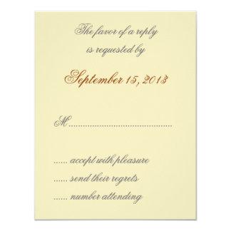 "William Morris Gold Leaves Wedding RSVP Cards 4.25"" X 5.5"" Invitation Card"
