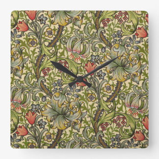 William Morris Golden Lily Square Wall Clock