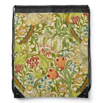 William Morris Golden Lily Vintage Pre-Raphaelite Drawstring Bag