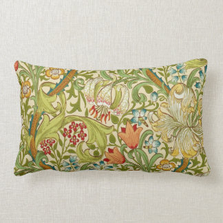 William Morris Golden Lily Vintage Pre-Raphaelite Lumbar Pillow
