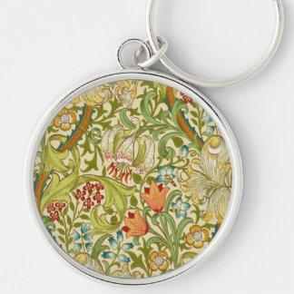 William Morris Golden Lily Vintage Pre-Raphaelite Silver-Colored Round Keychain