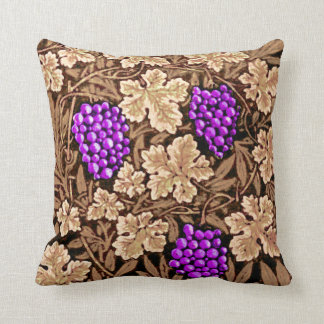 William Morris Grapevine, Brown and Purple Throw Pillow