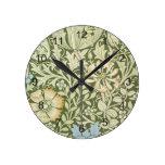 William Morris Green Floral Wallpaper Design Round Wallclock