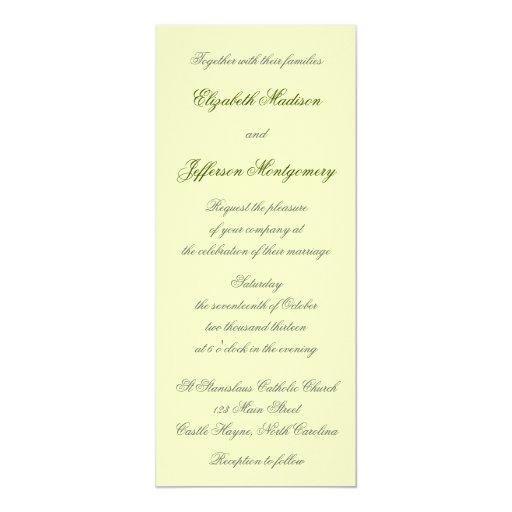 "William Morris Green Leaves Wedding Invitation 4"" X 9.25"" Invitation Card"