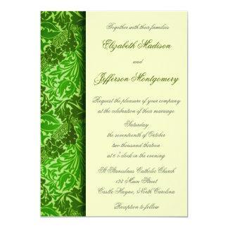 "William Morris Green Leaves Wedding Invitation 5"" X 7"" Invitation Card"