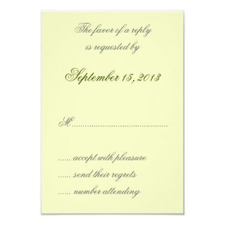 "William Morris Green Leaves Wedding RSVP Cards 3.5"" X 5"" Invitation Card"