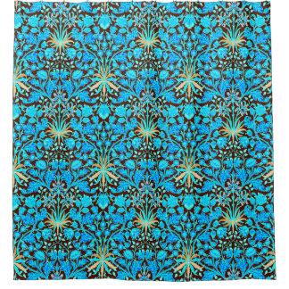 William Morris Hyacinth Print, Aqua And Brown Shower Curtain