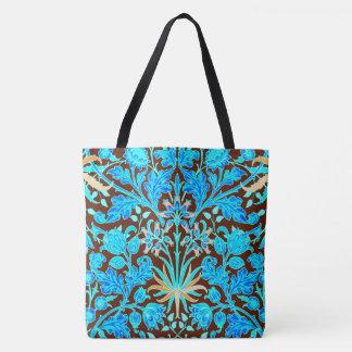 William Morris Hyacinth Print, Aqua and Brown Tote Bag