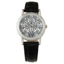 William Morris Hyacinth Print, Black, White & Gray Wrist Watch