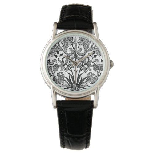 William Morris Hyacinth Print, Black, White & Gray Wrist Watch