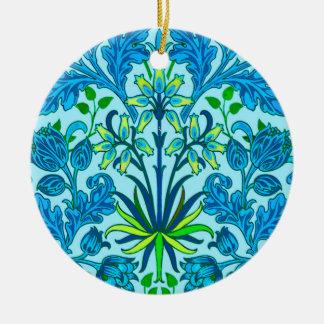 William Morris Hyacinth Print, Cerulean Blue Ceramic Ornament