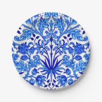 William Morris Hyacinth Print, Cobalt Blue & White Paper Plate