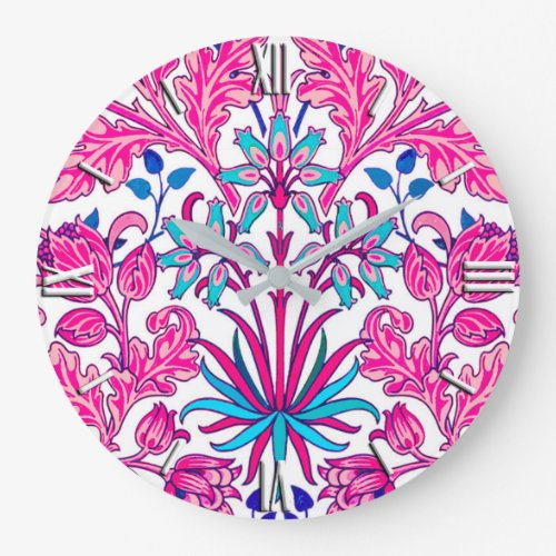 William Morris Hyacinth Print, Fuchsia Pink Large Clock