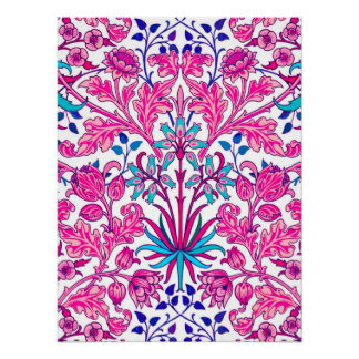 William Morris Hyacinth Print, Fuchsia Pink Poster