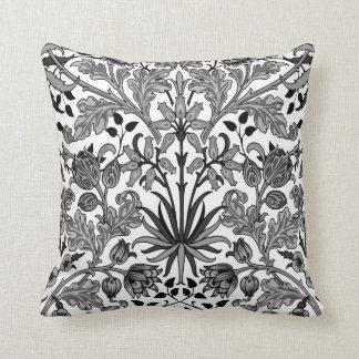 William Morris Hyacinth Print, Gray, Black & White Throw Pillow