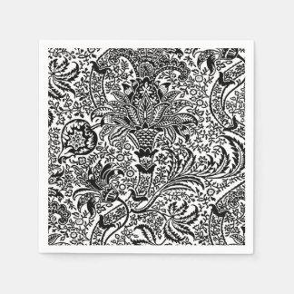 William Morris Indian, Black and White Paper Napkin
