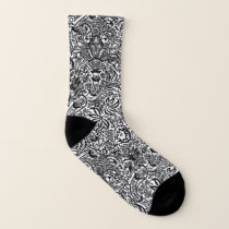 William Morris Indian, White and Black Socks