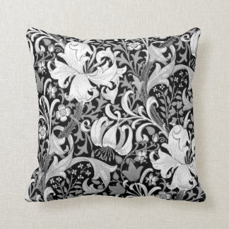 William Morris Iris and Lily, Black and White Throw Pillow