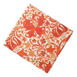 William Morris Iris and Lily, Mandarin Orange Bandana