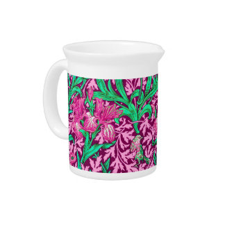 William Morris Irises, Fuchsia Pink and Wine Drink Pitcher