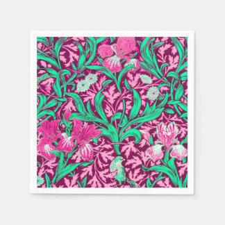 William Morris Irises, Fuchsia Pink and Wine Napkin