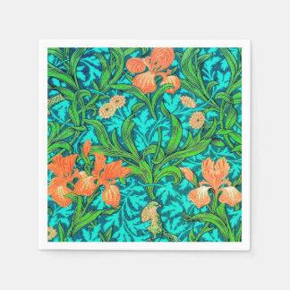 William Morris Irises, Orange and Turquoise Paper Napkin
