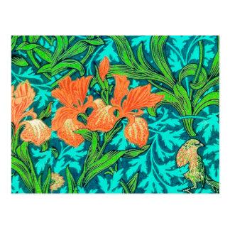 William Morris Irises, Orange and Turquoise Postcard