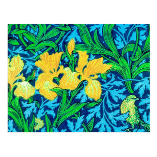 William Morris Irises, Yellow and Cobalt Blue Postcard