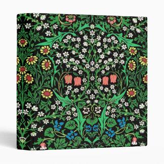 William Morris Jacobean Floral, Black Background 3 Ring Binder