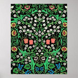 William Morris Jacobean Floral, Black Background Poster