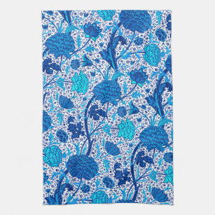 William Morris Jacobean Floral, Cobalt Blue Kitchen Towel