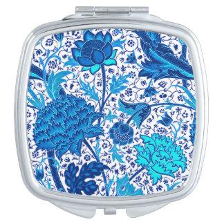 William Morris Jacobean Floral, Cobalt Blue Mirror For Makeup