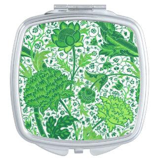 William Morris Jacobean Floral, Emerald Green Compact Mirror