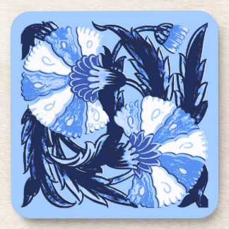 William Morris Jacobean, Navy and Light Blue Drink Coaster