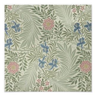 William Morris Larkspur Floral Pattern Poster
