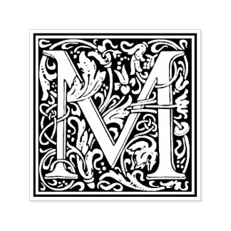 William Morris Letter M Victorian Floral Stamp