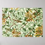 William Morris - madreselva en verde y oro Poster