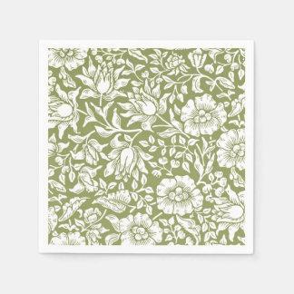 William Morris Mallow Green Pattern Paper Napkin