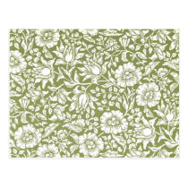 William Morris Mallow Green Pattern Postcard