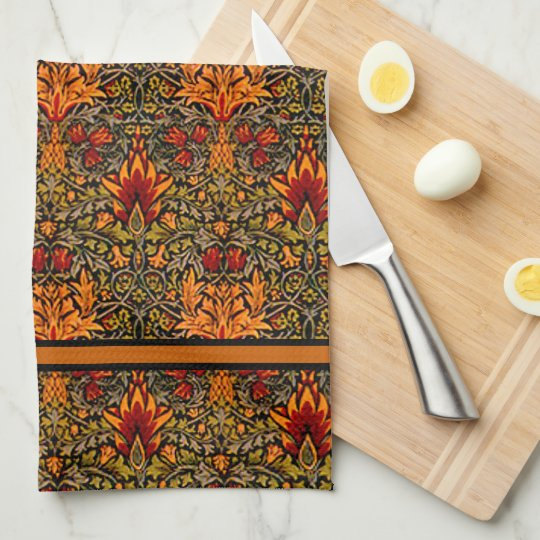 William Morris Over-Saturated Fall Colors Kitchen Towel
