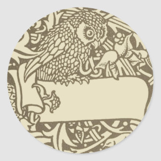 William Morris Owl Floral Vintage Design Classic Round Sticker