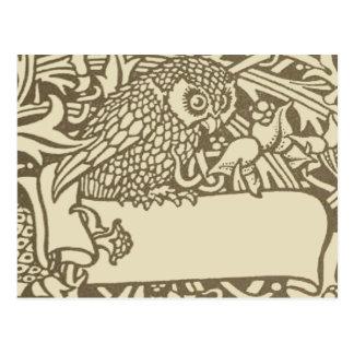William Morris Owl Floral Vintage Design Postcard