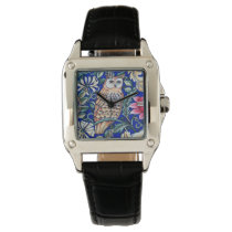William Morris Owl Tapestry, Beige and Cobalt Blue Wrist Watch