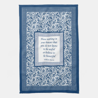 William Morris Pattern and Quotation Elegant Blue Hand Towel