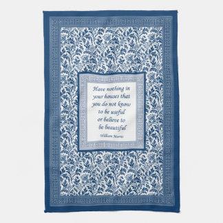 William Morris Pattern and Quotation Elegant Blue Hand Towel