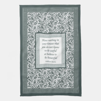 William Morris Pattern and Quotation Elegant Green Hand Towel