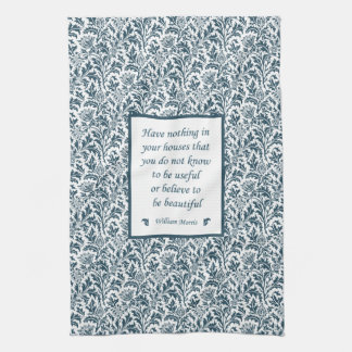 William Morris Pattern and Quotation Elegant Green Towel