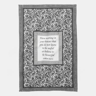 William Morris Pattern and Quotation Elegant Hand Towels