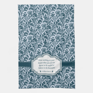 William Morris Pattern and Quotation Green Thistle Hand Towel