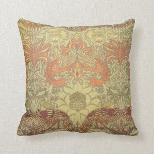 William Morris Peacock And Dragon Pattern Throw Pillow at Zazzle